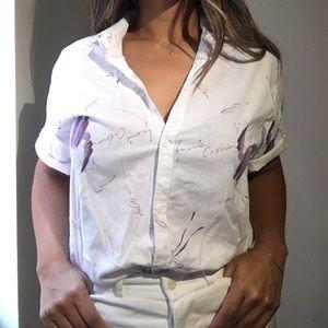 Vintage cotton lavender print button up